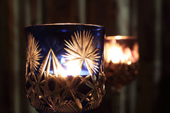 Candles in the Wineglass Stock Image