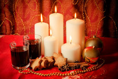 Candles With Christmas Balls, Cookies, Mulled Wine And Spices Stock Photo
