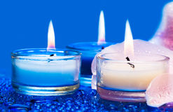 Candles With Flower Stock Photo