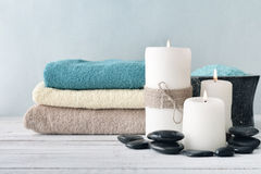 Free Candles With Lavender Flowers And Towels Royalty Free Stock Image - 47451986