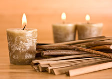 Candles and wood Stock Photography