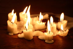 Candles On Wood Royalty Free Stock Photos