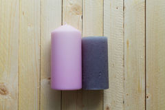 Candles wooden board Royalty Free Stock Image