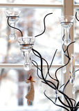 Candlestick. Christmas decoration. Candlestick and hanging toy angel Stock Photo