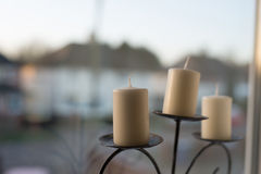 Candlestick. Behind the window in my room Royalty Free Stock Photography