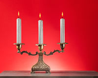 Candlestick with burning candles Stock Photography