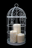 Candlestick cage style, candles, Valentine's Day decor. Royalty Free Stock Photos