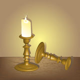 Candlestick with candle. Ilustration royalty free illustration