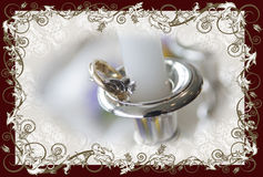 Candlestick with candle on a bridal table Royalty Free Stock Photos