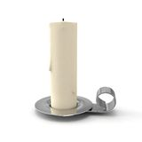Candlestick with candle. 3D rendered  on white background Royalty Free Stock Photo