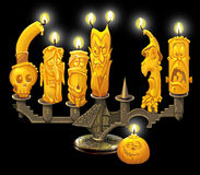 Candlestick and candles for Halloween. Candlestick on Halloween in the form of the palace, candles and pumpkin with characters. Raster illustration Stock Photography