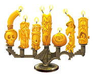 Candlestick and candles for Halloween Royalty Free Stock Images
