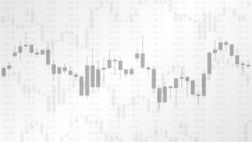 Candlestick chart in financial market. Vector illustration on the grey background. Forex trading graphic design concept Stock Images