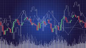 Candlestick chart in financial stock market vector illustration. On dark background. Forex trading graphic design concept Royalty Free Stock Image