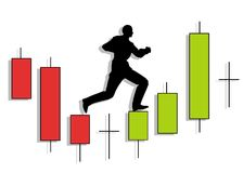 Candlestick Chart Man Running Up. An illustration featuring a silhouette of a man running upward on top of candlestick patterns Royalty Free Stock Images