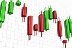 Candlestick chart  over white Stock Images