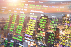 Candlestick chart patterns uptrend ,Stock Market on the cityscape Royalty Free Stock Images