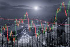 Candlestick chart patterns uptrend ,Stock Market on Shanghai cit Royalty Free Stock Images