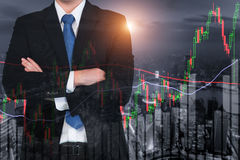 Candlestick chart patterns uptrend ,Stock Market on Shanghai cit Stock Photography