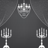 Candlestick, curtains and chandelier Stock Image