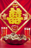 Candlestick and dried fruit wedding Royalty Free Stock Photos