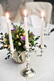 Candlestick on elegant dinner table Royalty Free Stock Photography
