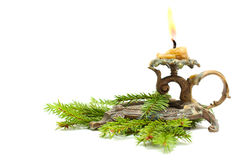 Candlestick with fir branch Royalty Free Stock Images