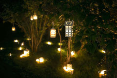 Candlestick house with candle light on the tree in nigth Stock Photography
