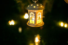 Candlestick house on the tree in nigth with blur lights Stock Images