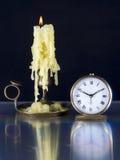 Candlestick i Stary zegarek. Zdjęcia Royalty Free