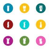 Candlestick icons set, flat style. Candlestick icons set. Flat set of 9 candlestick vector icons for web isolated on white background Royalty Free Stock Photo