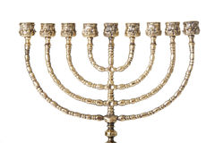 Candlestick with nine arms. Candlestick with nine arms ( chanukkiah / hanukiah for chanuka / hannukah ). Isolated on white stock photography