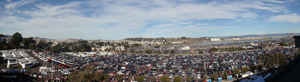 Candlestick Parking lot before the start of game Stock Photos