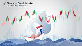 Candlestick patterns is a style of financial chart. Candlestick patterns is a style of financial chart, Suitable for forex stock market investment trading Stock Photo
