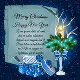 Candlestick, prezentów pudełka i karta dla twój teksta, Zdjęcia Royalty Free