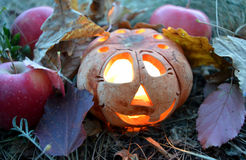 Candlestick pumpkin with burning candle inside, among autumn fallen leaves and red apples, symbol of Halloween Royalty Free Stock Photos