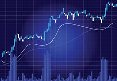 Candlestick Stock Chart In Blue. A candlestick stock chart in blue, with volume bars and indicator lines vector illustration
