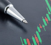 Candlestick stock chart with pen Stock Photo
