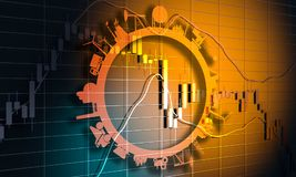 Candlestick stock exchange background. Forex candlestick pattern. Trading chart concept. Financial market chart. 3D rendering. Circle with industry relative Stock Images