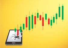 Candlestick stock exchange breakthrough smartphone vector. EPS10 Stock Images