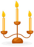 Candlestick with three candles. Illustration of isolated candlestick with three candles on white stock illustration