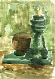 Candlestick. With a vase. Gouache painting Stock Photos