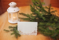 Candlestick on a wooden background, Christmas tree card Royalty Free Stock Photos