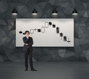 Candlestick wykres na plakacie obraz stock
