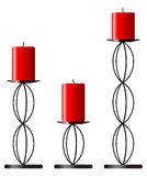 Candlesticks. Three candlesticks with matching red candles, jpg from vector image Stock Illustration