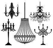 Candlesticks and chandeliers. Royalty Free Stock Image