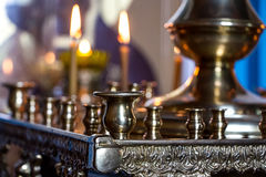 Candlesticks in church Stock Images