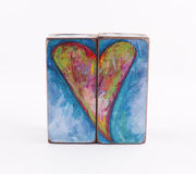 Candlesticks heart. Candlesticks painted with paints isolated heart on a white background. Valentine's day. As a gift, and any application Royalty Free Stock Photo