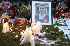 Candllelit Vigil for Murdered MP, Jo Cox. Jo Cox's Vigil. A candlelit vigil was held in Parliament Square for the murdered MP, Jo Cox. People lit candles, left Royalty Free Stock Image