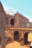 CANDOLIM, GOA, INDIA - 11 APRIL 2015: Oud Fort Aguada en vuurtoren in Goa Royalty-vrije Stock Afbeeldingen